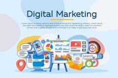 分析企业演变总额 数字式营销概念 社会网络和媒介通信 销售方针的发展 横幅 库存照片