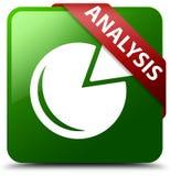 分析图表象绿色正方形按钮 免版税图库摄影