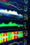 分析在外汇市场上的数据:图和行情在显示 免版税库存照片