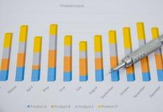 分析投资图的商人在他的工作场所 库存照片