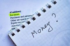 分析投资声明和fianancial报告,金钱的问题赢利的商人 免版税库存照片