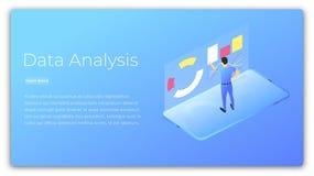 分析接近的数据手指裱糊铅笔视图妇女 人分析的和处理的数据的等量例证 数据处理未来派技术 图库摄影