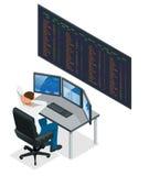 分析数据、图表和报告的在网上换股票的投资意图创造性的配合贸易商商人 皇族释放例证