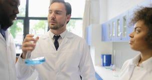 分析液体的气味在运转在实验室的烧瓶的科学家不同的队做实验混合种族团体  股票视频