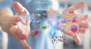 分析细菌微观特写镜头3D翻译的商人 向量例证