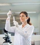 分析试管的女性研究员 免版税图库摄影