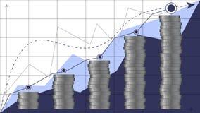 分析财务图表事务铸造bitcoins传染媒介剪影例证 免版税库存照片