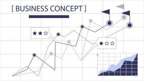 分析财务图表财政企业传染媒介剪影线例证 图库摄影