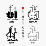 分析,化学,烧瓶,研究,在稀薄,规则,大胆的线和纵的沟纹样式的测试象 r 向量例证