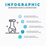 分析,生化,生物,化学线象有5步介绍infographics背景 库存例证