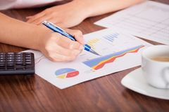 分析财务数据的妇女 免版税库存图片