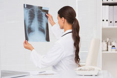 分析X-射线结果的焦点医生 免版税库存照片