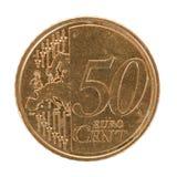 分硬币欧元五十 库存图片
