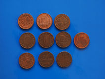 1分硬币,在蓝色的欧盟 免版税图库摄影