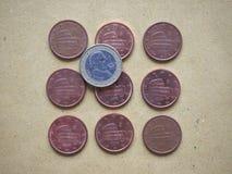 5分硬币,欧盟,意大利 库存图片