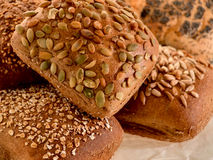 分类做面包的粮谷多卷 免版税库存照片