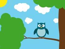 分行例证猫头鹰坐结构树 库存照片