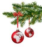 分行圣诞节世界 免版税库存照片