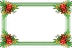 分行圣诞节框架绿色装饰品 免版税库存照片