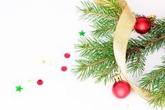 分行圣诞节毛皮结构树 免版税库存照片