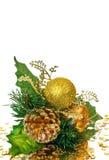 分行圣诞节装饰金子绿色 免版税库存照片