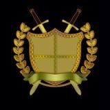 分行橄榄色滚动盾剑 库存照片