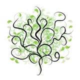 分行绿色剪影结构树 免版税库存图片
