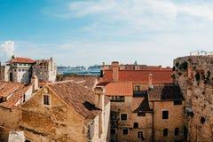 分裂,老镇,克罗地亚 从塔响铃塔的看法到 免版税库存照片