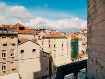 分裂,老镇,克罗地亚 从塔响铃塔的看法到 图库摄影