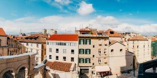 分裂,老镇,克罗地亚 从塔响铃塔的看法到 免版税库存图片