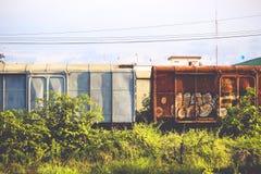 老货物火车曼谷,泰国 库存照片