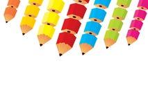 分装式背景的铅笔 免版税库存照片