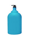 分配器泵浦化妆用品或卫生学蓝色,塑料瓶胶凝体 免版税库存图片