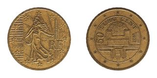 50分铸造,法国和奥地利,欧洲 库存图片