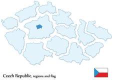 分隔的捷克共和国和所有地区 免版税库存图片