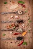 分类在木匙子黑胡椒的香料,白胡椒, 免版税库存照片