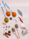 分类干香料白胡椒,小茴香,月桂叶,桂香, s 免版税库存照片