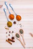 分类干香料白胡椒,小茴香,桂香,麝香草, ch 免版税库存图片