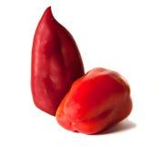 切三个蕃茄二棵蔬菜 胡椒 免版税库存图片