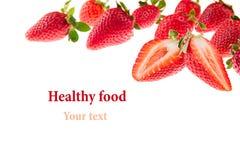 切与草莓样式的草莓 查出 宏指令 纹理 复制框架空间 图库摄影