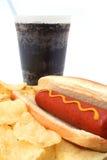 切削快餐肉猪热膳食土豆碳酸钠 免版税库存照片