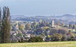 切削Campden全景,格洛斯特,英国 免版税库存图片