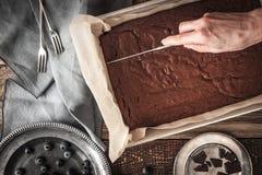 切口水平巧克力的果仁巧克力 免版税库存照片
