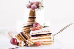 切在白色背景的蛋糕蛋白牛奶酥 免版税库存照片