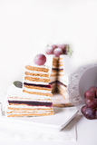 切在白色背景的蛋糕蛋白牛奶酥 库存图片