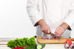 切在他的厨房的厨师一棵葱 库存图片