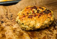 切好的肉炸肉排用莳萝在与一个开胃外壳的烤箱烘烤了反对背景 库存照片