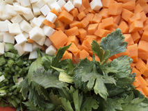切好的芹菜、欧洲防风草、红萝卜和芹菜偷偷靠近 免版税库存图片