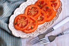 切好的蕃茄开胃菜  免版税图库摄影