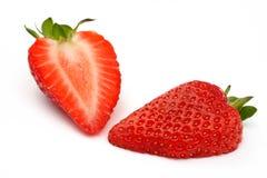 切宏观射击草莓 免版税库存照片